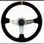 Volante de Cuero QSP de 3 Brazos 350mm de Diametro 90mm de Profundidad y en color Negro/Plata (Universal)