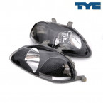 Faros Delanteros Electricos TYC Modelo  JDM en Color Negro (Civic 95-98)